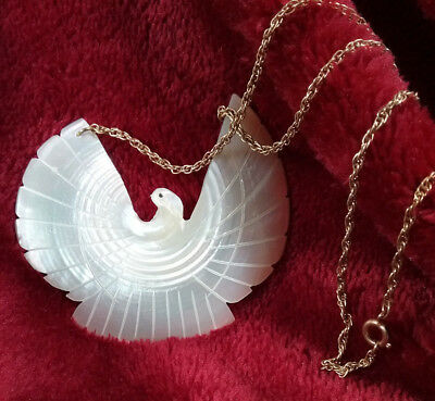 Mother of Pearl Carved Shell Bird in Flight Pendant Necklace Full Spread Eagle