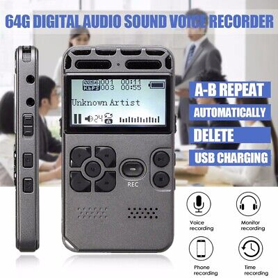 64GB Rechargeable Digital Audio Sound Voice Recorder Dictaphone MP3 Player UK