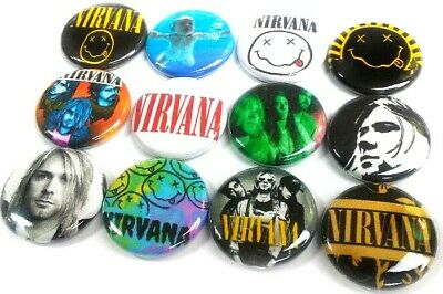 "12 NIRVANA - Buttons Pinback 1"" Pins Badges GRUNGE 90s Seattle ALT Rock Band"