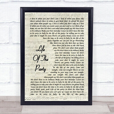 Shawn Mendes Life Of The Party Song Lyric Vintage Script Quote Print