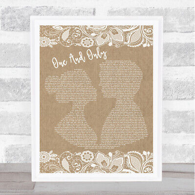 One And Only Burlap & Lace Song Lyric Quote Print