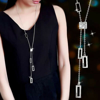 Crystal Healing Stone Necklace Long Sweater Chain Women Jewelry Gift 6A