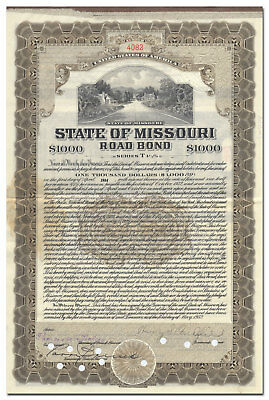 MIssouri Road Bond Certificate Signed by Governor Henry Caulfield Park