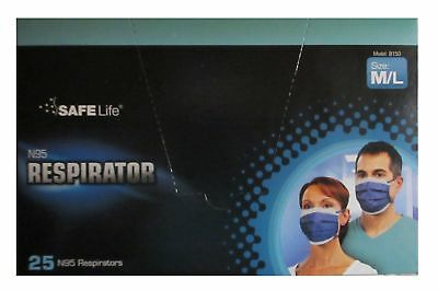 NEW Pkg N95 SAFE Life Disposable Respirator Medical Safety Masks M/L B150 25/box