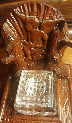 Rare! Cherub Cupid Angel Hand-Tooled Vintage Antique Solid Wood Glass Inkwell!