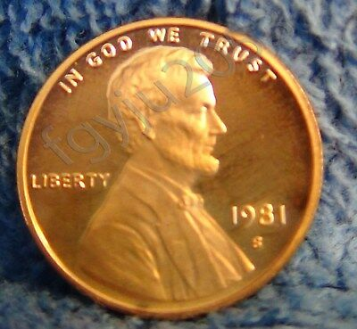 "1981-S Type 2 flat ""S"" Proof Lincoln cent."