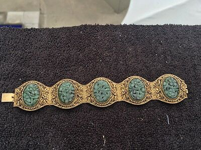 Exquisite Chinese Gilt Silver Carved Jade Bracelet