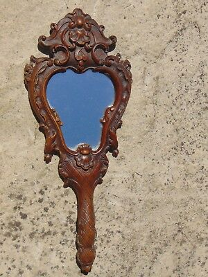 Antique Black Forest French Hand Carved Baroque Style Hand Dressing Table Mirror