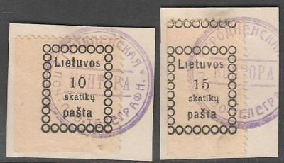 Lithuania 1918 Mi 1-2, Used, on piece
