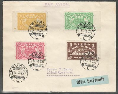 Lithuania 1925 Airmail Cover to Latvia with Mi 220-3; 11.9.1925