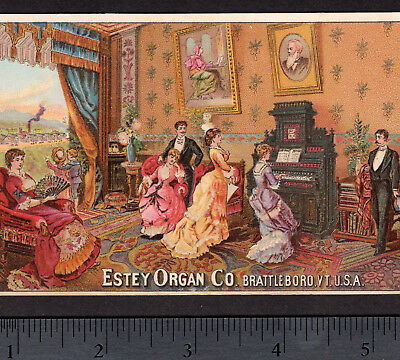 Estey Organ Co Brattleboro VT 1800's Antique Factory View Advertising Trade Card