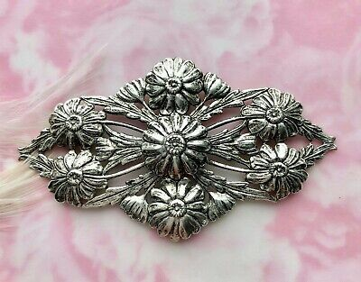 ANTIQUE SILVER Flower Flourish Ornament Flowers Stamping Ox Findings (FC-5)