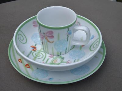 Tiffany & Co. Fiddleheads 3 Piece Childrens Childs Baby China Set Bowl Plate Cup