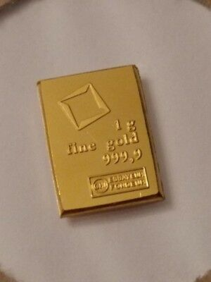 1 GRAM VALCAMBI SUISSE GOLD BAR .9999 PURE Brand New Flawless