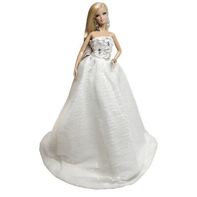 "Peregrine White Dazzling Sequins Gown Wedding Dress w/ Angel Wing for 11.5"" Doll"