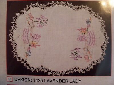 Myart Traced Stamped Linen 3-piece Vanity Set To Embroider Trim Lavender Lady