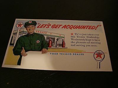 "Vintage 50's Texaco Oil Postcard ""Let's Get Acquainted!"""