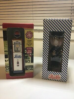 Vintage Pepsi Cola Collectable Limited Editon Gas Pump Bank & Delivery Bobble