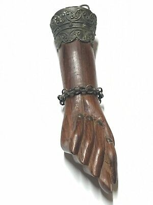 Antique Sterling Silver Large Hand carved Figa Fist Idol Amulet
