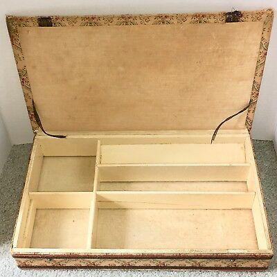 Antique Large Wood Dresser Top Jewelry Box Fabric Material Primitive