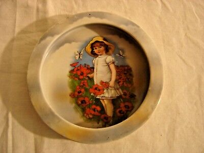 Child's Bavarian Cereal Bowl Young Girl with Poppies. 8820