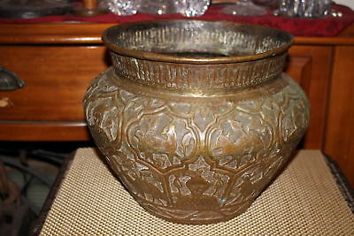 Antique Persian Middle Eastern Copper Brass Metal Bowl God's Camels Deer Wolves