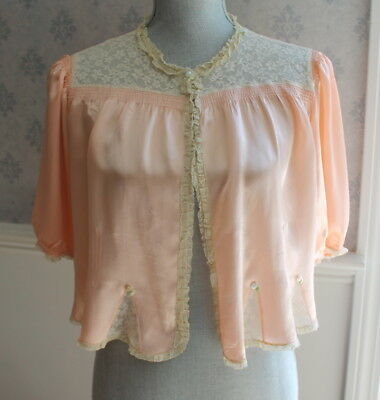 Vintage Peach Satin and Ecru Lace Ribbon Rose Bed Jacket