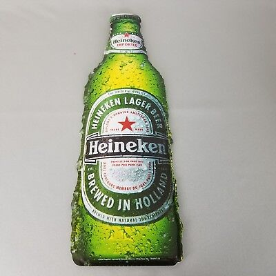 Heineken Beer Bottle Tin Sign Bar Advertising Man Cave Ice Cold Dripping Water
