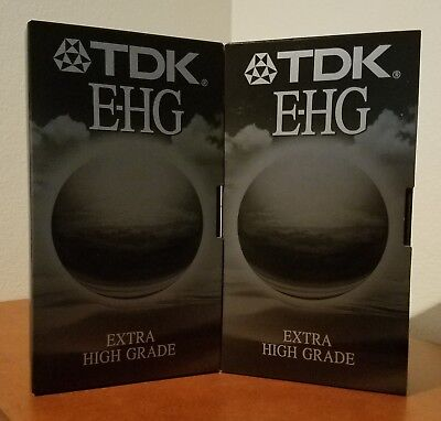 2 x TDK E-180 VHS EHG Extra High Grade Video Tapes
