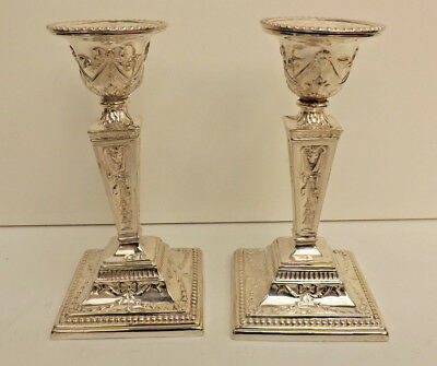 Antique Pair Of Neoclassical Style Silver Plated Candlesticks