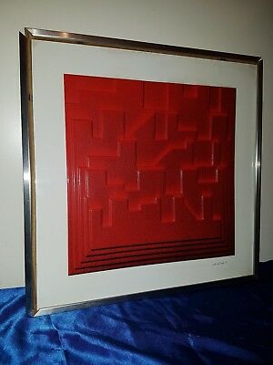 70er Wandelement Space Age Wandskulptur Design Signiert Plastic Wall Artwork 70s