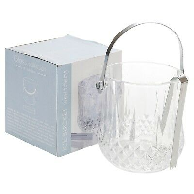 Elegant Glass Ice Bucket With Tongs Party Wine Champagne Drinks Cooler Bar New