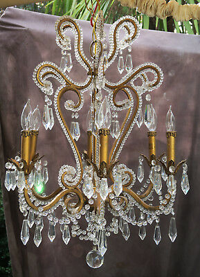 6Lt Vintage tole brass French ROCOCO beaded ceiling chandelier crystal prisms