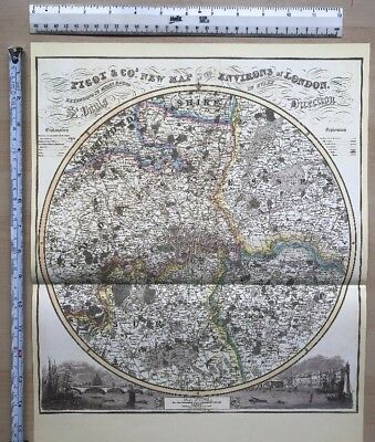 Old Victorian Map 14 miles round London: 1840 Pigot Historical, Antique: Reprint