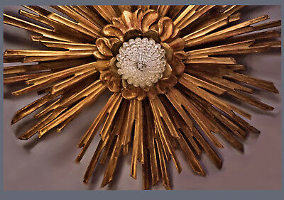 "An Old Wood Carved Gilded ""Rays Of Light"" Ceiling Light, 60,0 cm Diam.14,0 cm D."
