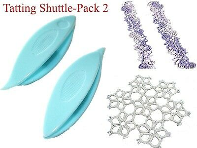 """Pack of 2-Plastic Tatting Shuttle,Lacemaking Shuttles,Hand Lace Craft Tool,2.56"""""""