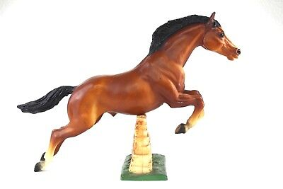 Vintage Breyer 1970's Model Bay Horse #300 Equestrian Jumping With Brick Wall