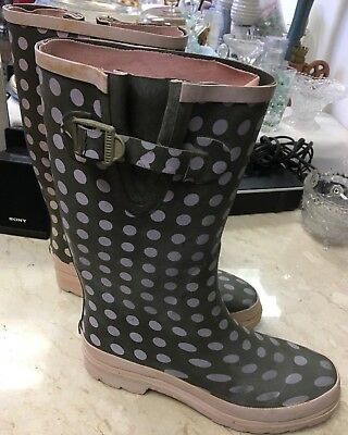 Green & Pink Polka Dot Ladies Rain Boots Size 10