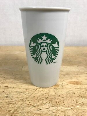 2011 Starbucks Ceramic To Go Cup Mermaid Logo Travel Tumbler