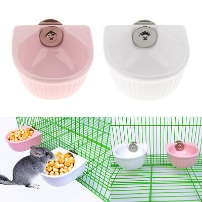 Small Pet Cage Accessories Hamster Food Bowl, Mountable Cat Rabbit Dish