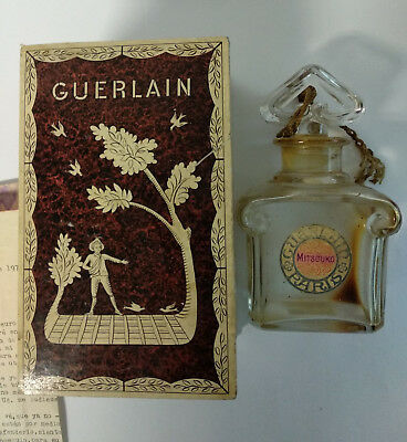 Antique Guerlain Mitsouko Baccarat crystal bottle perfume in original box PARIS