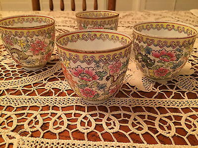 8 Thin Porcelain Chinese Tea Cups Peonies Serpents Hearts Translucent VTG Asian