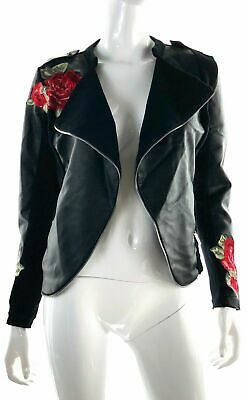 INC Womens Pleather Moto Jacket Coat 36739 Rose Applique Embroidered Trendy XS