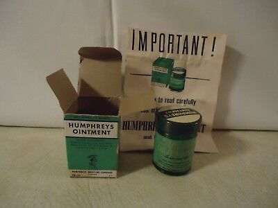 Vintage Humphrey'S Ointment Jar (Close To Full!) With Box & Brochure