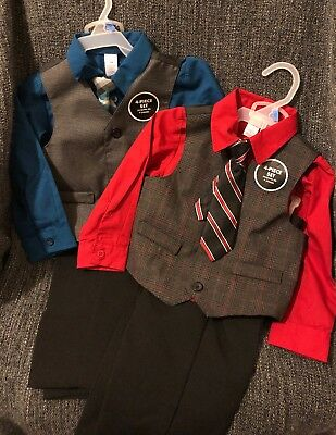 NWT Lot (2) 24m Toddler Boy 4-Piece Suits Black/Blue/Gray + Black/White/Red