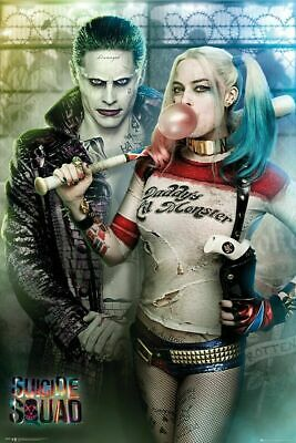 Suicide Squad Joker and Harley Quinn Art Wall Scroll Poster