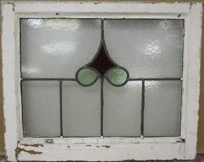 "OLD ENGLISH LEADED STAINED GLASS WINDOW Nice Abstract Design 21.75"" x 17.75"""