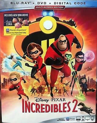INCREDIBLES 2(BLU-RAY+DVD+DIGITAL)W/SLIPCOVER****blow Out Sale****