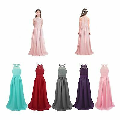 Kid Flower Girl Lace Tulle Long Dress Wedding Bridesmaid Party Prom Ball Gown UK