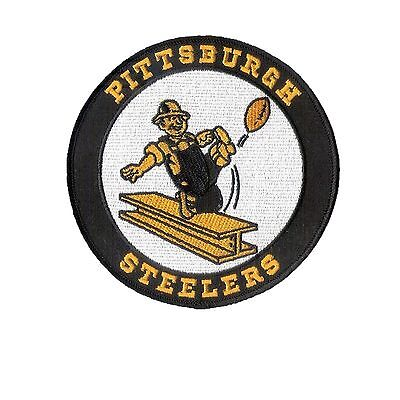 "4 3/4"" Old School Pittsburgh Steelers embroidered Patch - Steelworker - Harley"